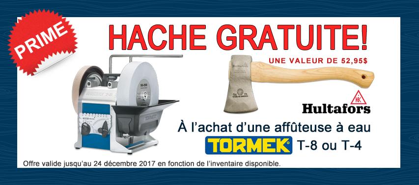 Promo Tormek avec hache gratuite