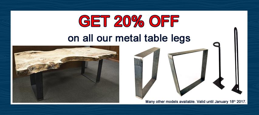 20% off on all metal table legs